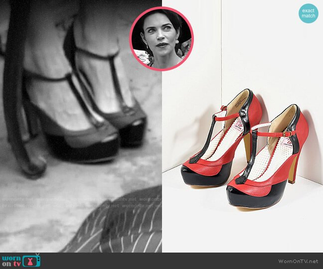 Pin Up Couture Bettie T-strap Platform Heels worn by Victoria Newman (Amelia Heinle) on The Young & the Restless