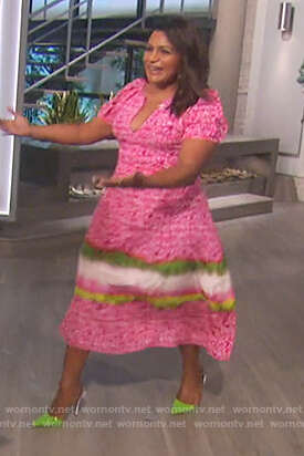 Mindy Kaling's pink floral dress on The Talk