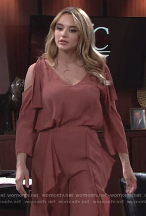 Summer's pink ruffle blouse and pants on The Young and the Restless