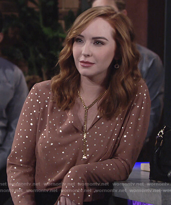 0cb49892f523c9 WornOnTV: Mariah's metallic star tie front blouse on The Young and the  Restless | Camryn Grimes | Clothes and Wardrobe from TV