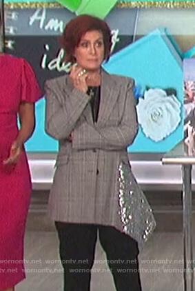 Sharon's plaid sequin panel blazer on The Talk