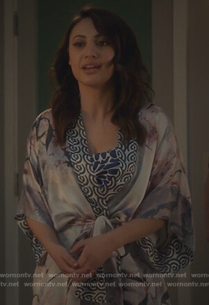 Ana's silk print kimono on Grown-ish