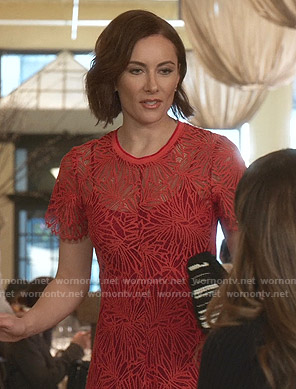 Quinn's red floral lace dress on Younger
