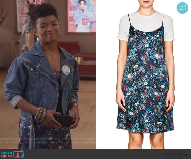 Floral Silk Charmeuse Slipdress by R13 worn by Tia Clayton (Alexis Floyd) on The Bold Type