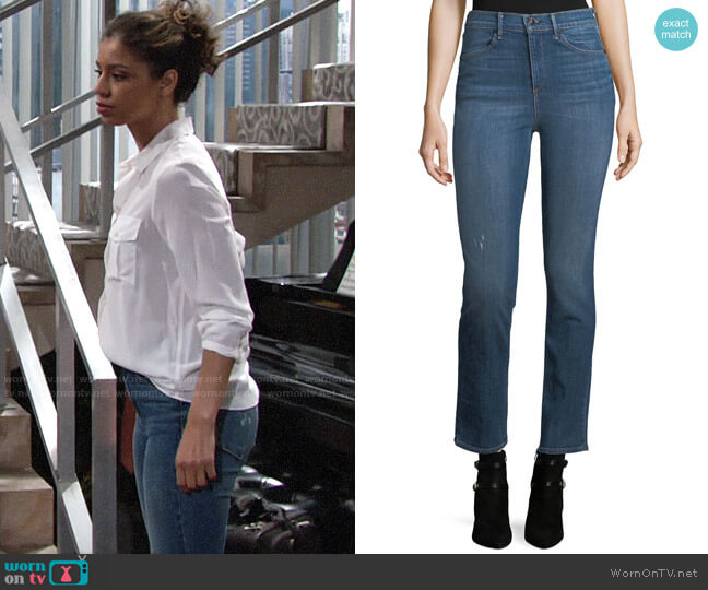 Rag & Bone High-Rise Slim-Fit Cigarette Jeans worn by Elena Dawson (Brytni Sarpy) on The Young & the Restless