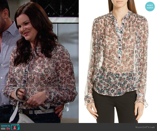 Rag & Bone Susan Floral Blouse worn by Katie Logan (Heather Tom) on The Bold & the Beautiful