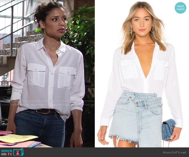 Rails Rhett Shirt worn by Elena Dawson (Brytni Sarpy) on The Young & the Restless