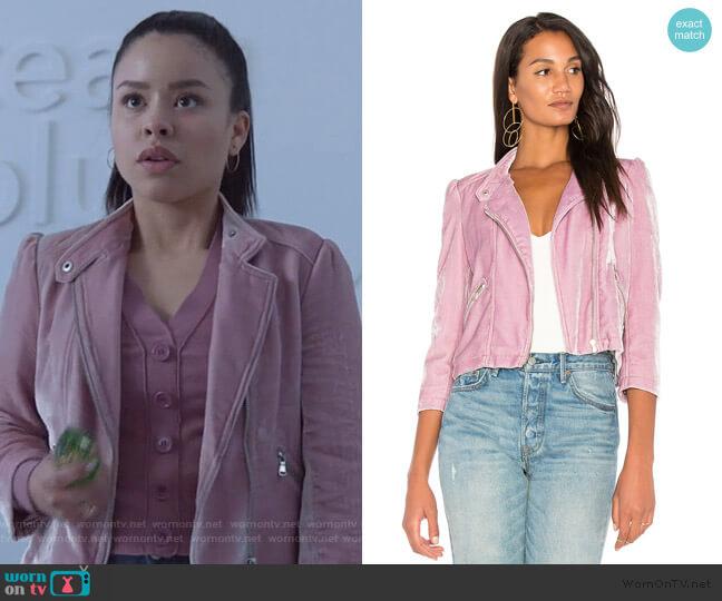 Velvet Moto Jacket by Rebecca Taylor worn by Mariana Foster (Cierra Ramirez) on Good Trouble