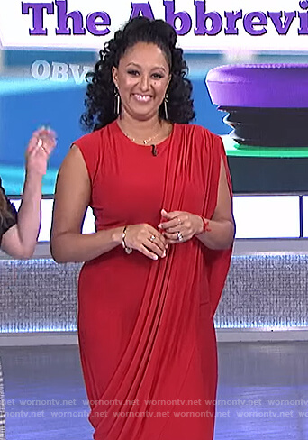 Tamera's red drape dress on The Real