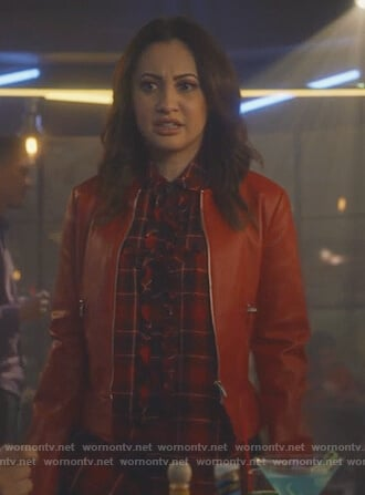 Ana's red plaid blouse on Grown-ish