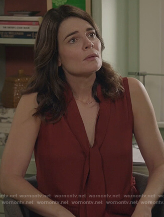 Heather's red tie neck top on Life in Pieces