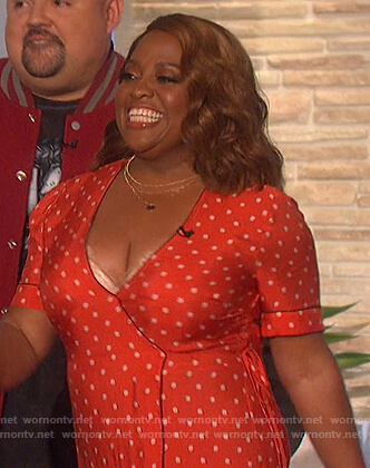 Sherri Shepherd's red polka dot wrap dress on The Talk