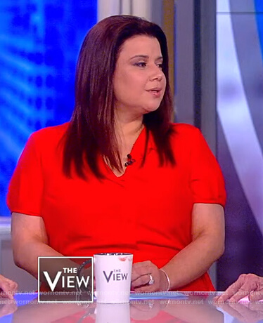 Ana's red wilk tie waist dress on The View
