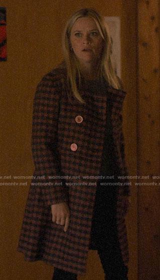 Madeline's pink houndstooth coat on Big Little Lies