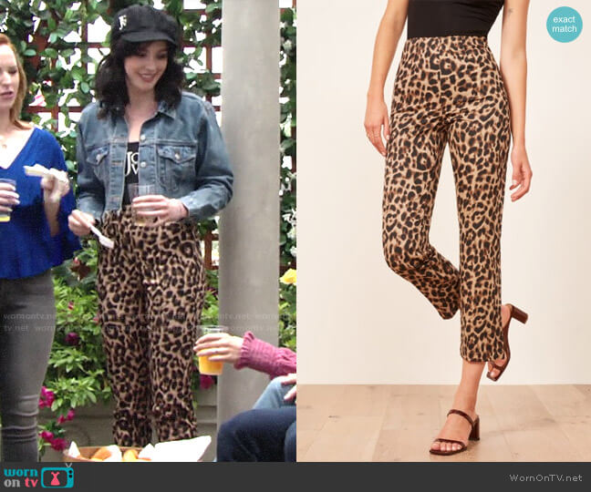 Reformation Leopard Marlon Pants worn by Tessa Porter (Cait Fairbanks) on The Young & the Restless