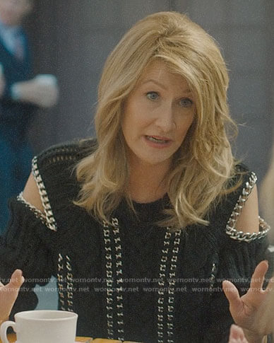 Renata's chain-trim cold shoulder sweater on Big Little Lies