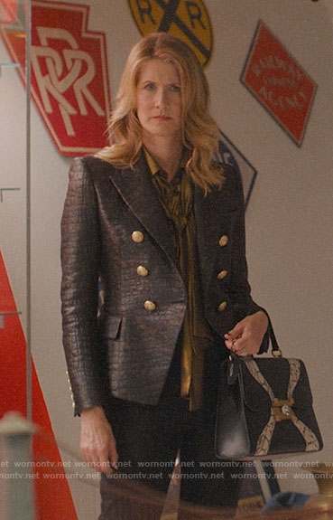Renata's crocodile textured blazer and gold blouse on Big Little Lies