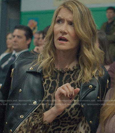 Renata's leopard print blouse leather double-breasted jacket on Big Little Lies