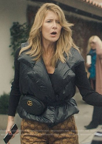 Renata's puffer vest and Gucci belt bag on Big Little Lies