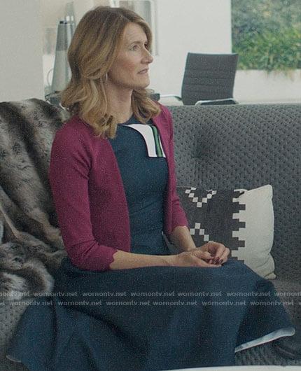 Renata's navy stripe detail dress on Big Little Lies