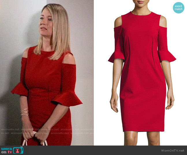 Rickie Freeman for Teri John Cold-Shoulder Stretch-Crepe Mini Sheath Dress worn by Nina Reeves (Cynthia Watros) on General Hospital