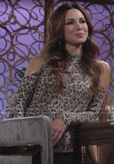 Riza's leopard print cold-shoulder top on The Young and the Restless