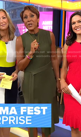 Robin's green belted knit dress on Good Morning America