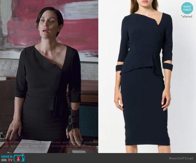 Dunne Dress by Roland Mouret worn by Jeryn Hogarth (Carrie-Anne Moss) on Jessica Jones