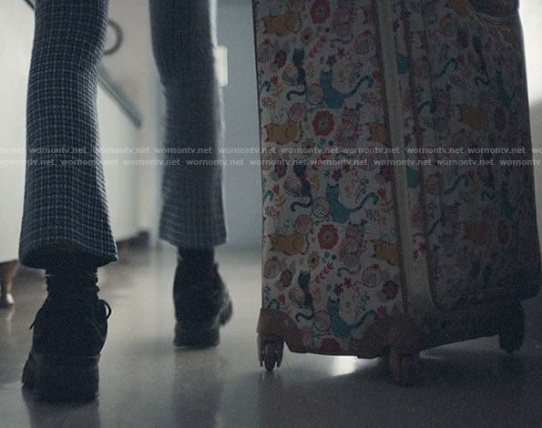 Rue's cat print suitcase on Euphoria