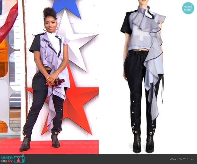 Asymmetric Striped Organza Blouse and Gabardine Poplin Pants by Sacai worn by Keke Palmer  on Good Morning America