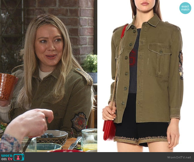 Embroidered Cotton-Blend Jacket by Saint Laurent worn by Kelsey Peters (Hilary Duff) on Younger