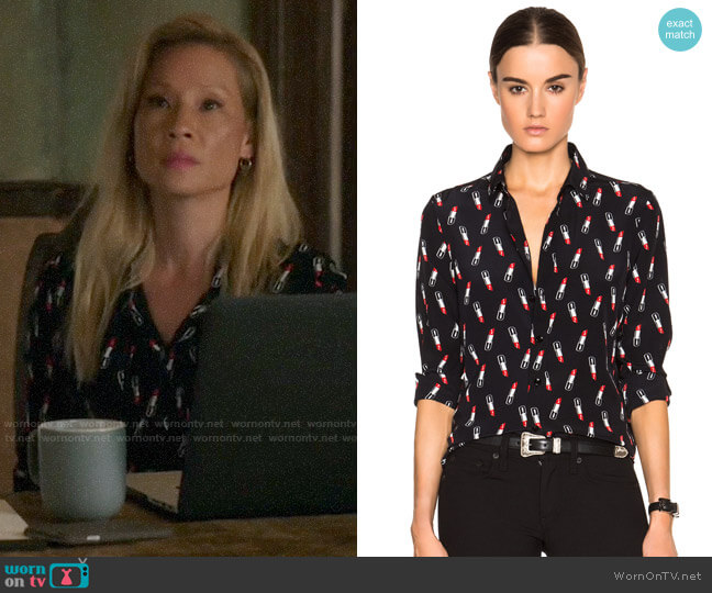 Saint Laurent Paris Lipstick Print Blouse worn by Joan Watson (Lucy Liu) on Elementary
