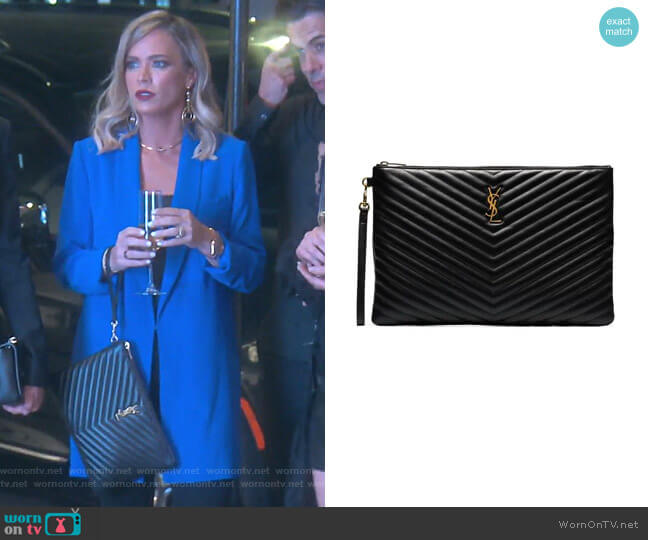 Large Monogram Leather Document Holder by Saint Laurent worn by Teddi Mellencamp Arroyave  on The Real Housewives of Beverly Hills