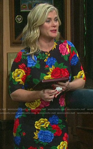Sami's colorful floral dress on Days of our Lives