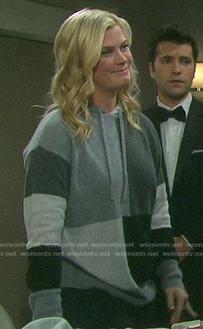 Sami's grey colorblock hooded sweater on Days of our Lives