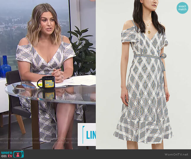 Cold-Shoulder Lace-Panel Twill Dress by Sandro worn by Carissa Loethen Culiner  on E! News