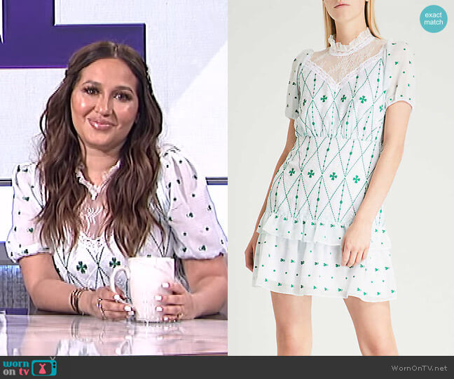 Lace-Panelled Embroidered Crepe Mini Dress by Sandro worn by Adrienne Houghton  on The Real