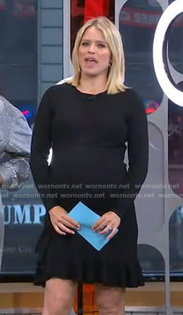 Sara's black ruffled hem dress on GMA Strahan And Sara