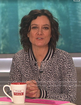 Sara's grey leopard print varsity jacket on The Talk