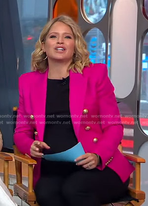 Sara's pink blazer on GMA Strahan And Sara