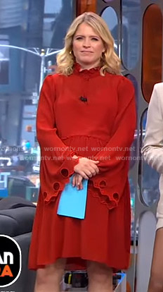 Sara's red flared sleeve dress with cutouts on GMA Strahan And Sara
