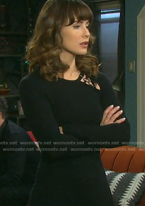 Sarah's black ring detail dress on Days of our Lives