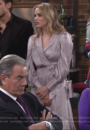 Summer's silk wrap dress on The Young and the Restless