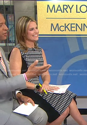 Savannah's black checked sleeveless dress on Today