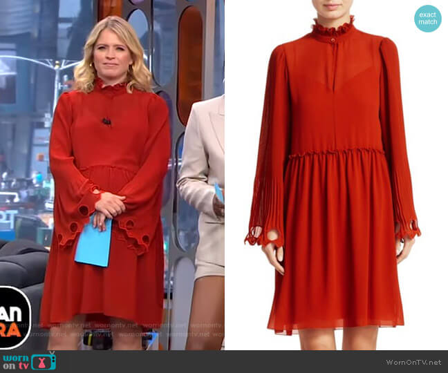 Ruffled Collar Bell Sleeve Georgette Shirtdress by See by Chloe worn by Sara Haines  on Good Morning America