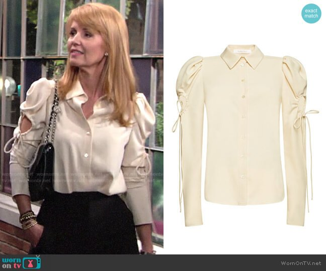 See by Chloe Puff sleeved cut-out crepe blouse worn by Mallory Armstrong (Wendy Benson Landes) on The Young & the Restless