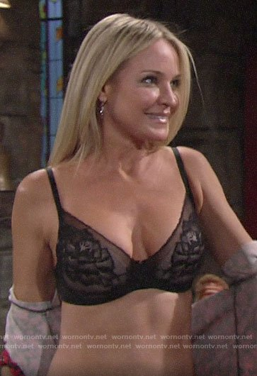 Sharon's black floral bra on The Young and the Restless
