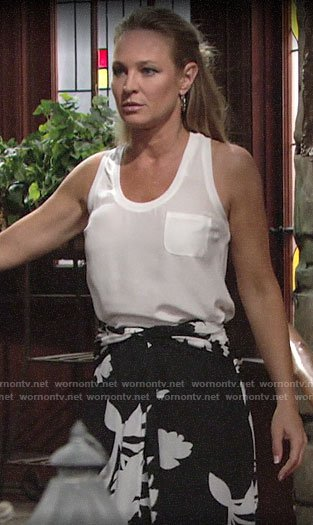 Sharon's black and white floral skirt and white tank top on The Young and the Restless