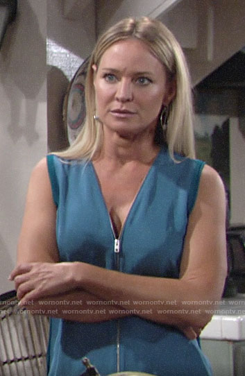 Sharon's blue zip-front top on The Young and the Restless