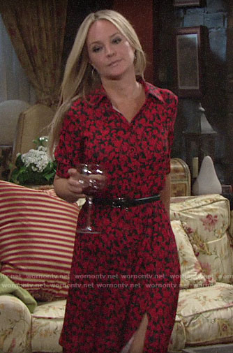 Sharon's black and red floral shirtdress on The Young and the Restless